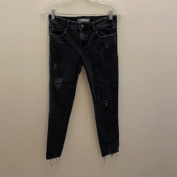 Zara black denim mid-rise distressed jeans